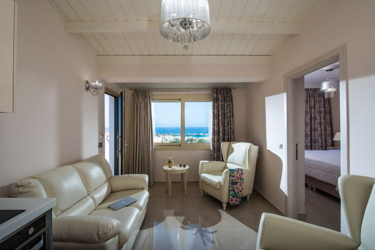 2 bedroom + 2 bathroom sea view suite living room - Pilots Villas Hersonissos Crete